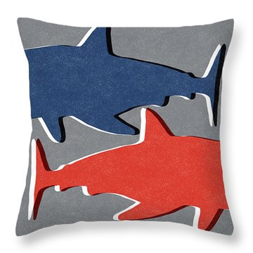 Blue And Red Sharks Throw Pillow by Linda Woods