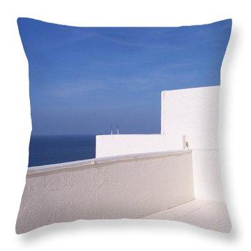 Blue And White Throw Pillow by Anna Villarreal Garbis