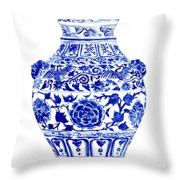 Blue And White Ginger Jar Chinoiserie 4 Throw Pillow by Laura Row