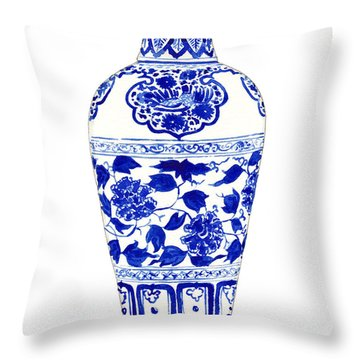 Blue And White Ginger Jar Chinoiserie Jar 1 Throw Pillow by Laura Row