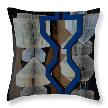 Blue And White Throw Pillow by Rob Hans