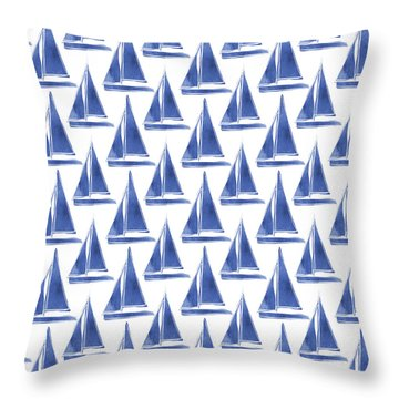 Blue And White Sailboats Pattern- Art By Linda Woods Throw Pillow by Linda Woods
