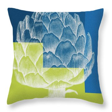 Throw Pillow featuring the painting Blue Artichoke by Frank Tschakert