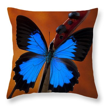 Blue Butterfly On Violin Throw Pillow by Garry Gay