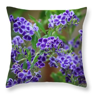 Blue Cottage Flowers Throw Pillow by Carol Groenen