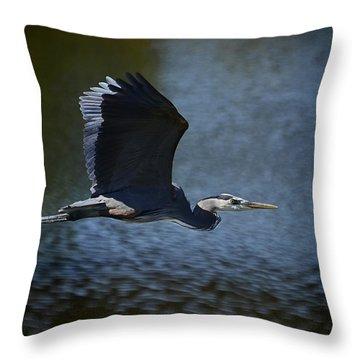 Blue Heron Skies  Throw Pillow by Saija  Lehtonen