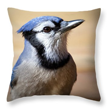 Blue Jay Portrait Throw Pillow by Al  Mueller
