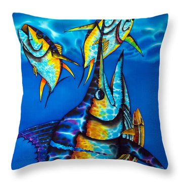 Blue Marlin Throw Pillow by Daniel Jean-Baptiste