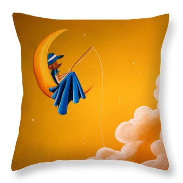 Blue Moon Throw Pillow by Cindy Thornton