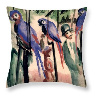 Blue Parrots Throw Pillow by August Macke