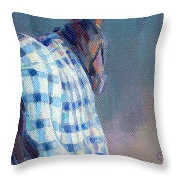 Blue Plaid Throw Pillow by Kimberly Santini