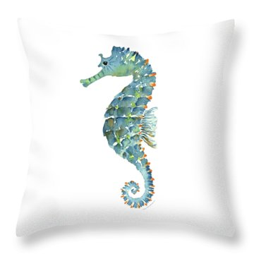 Blue Seahorse Throw Pillow by Amy Kirkpatrick