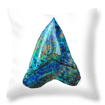 Blue Shark Tooth Art By Sharon Cummings Throw Pillow by Sharon Cummings