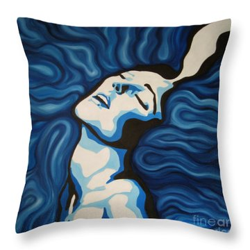 Blue Shimmers Throw Pillow by Jindra Noewi