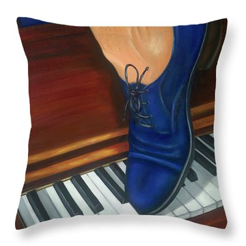 Blue Suede Shoes Throw Pillow by Marlyn Boyd