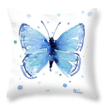 Blue Watercolor Butterfly Throw Pillow by Olga Shvartsur