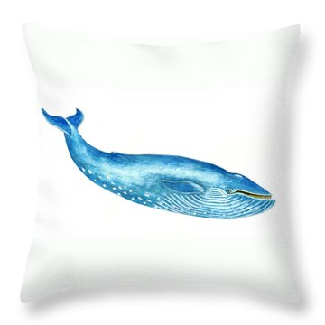 Blue Whale Throw Pillow by Michael Vigliotti