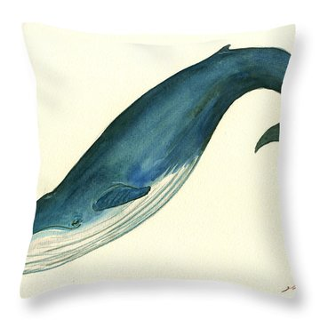 Blue Whale Painting Throw Pillow by Juan  Bosco