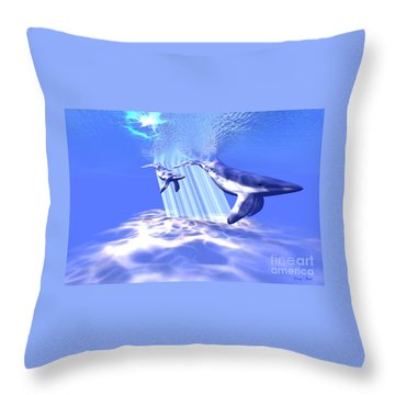 Blue Whales Throw Pillow by Corey Ford