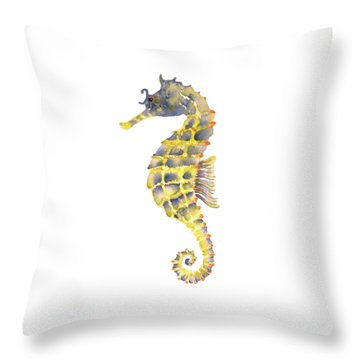 Blue Yellow Seahorse - Square Throw Pillow by Amy Kirkpatrick