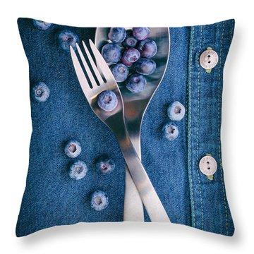 Blueberries On Denim II Throw Pillow by Tom Mc Nemar