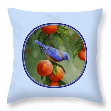 Bluebird And Peach Tree Iphone Case Throw Pillow by Crista Forest