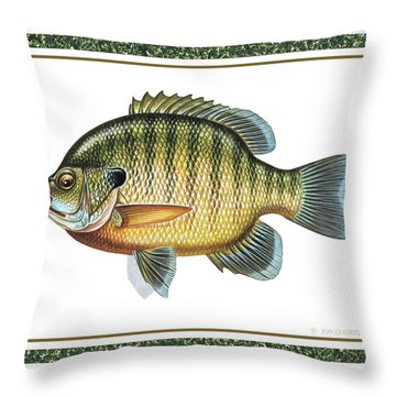 Bluegill Print Throw Pillow by JQ Licensing