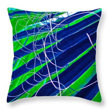 Bluegreen Palm Fun Throw Pillow by Gwyn Newcombe