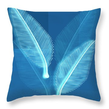 Throw Pillow featuring the painting Blueprint Leaves by Frank Tschakert