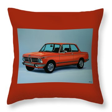 Bmw 2002 1968 Painting Throw Pillow by Paul Meijering