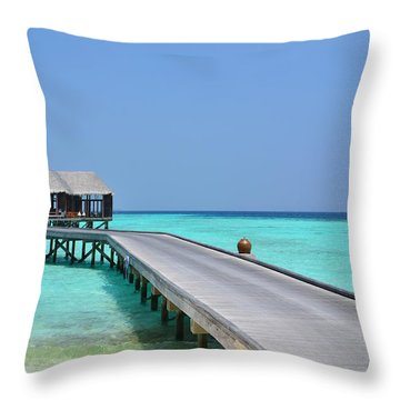 Boardwalk In Paradise Throw Pillow by Corinne Rhode