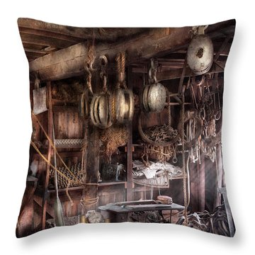 Boat - Block And Tackle Shop  Throw Pillow by Mike Savad