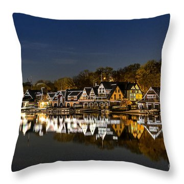 Boathouse Row Throw Pillow by John Greim