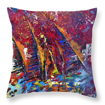 Boats In Calpe 02 Spain Throw Pillow by Miki De Goodaboom