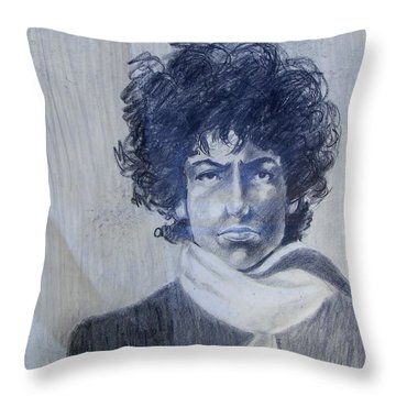 Bob Dylan In The Rock Years Throw Pillow by Judith Redman