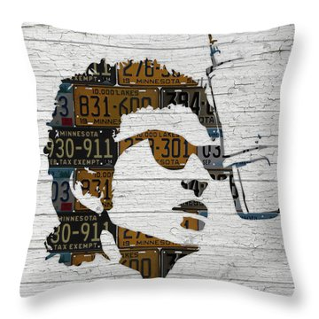 Bob Dylan Minnesota Native Recycled Vintage License Plate Portrait On White Wood Throw Pillow by Design Turnpike