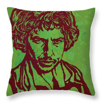 Bob Dylan Pop Art Poser Throw Pillow by Kim Wang