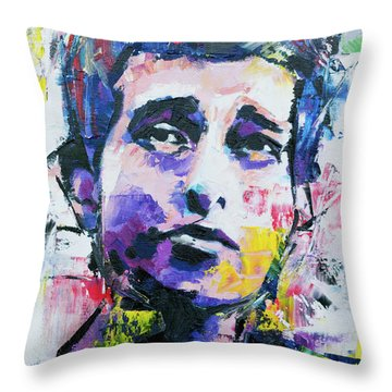 Bob Dylan Portrait Throw Pillow by Richard Day
