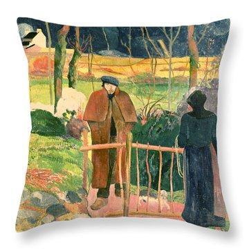 Bonjour Monsieur Gauguin Throw Pillow by Paul Gauguin