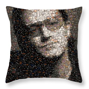 Bono U2 Albums Mosaic Throw Pillow by Paul Van Scott