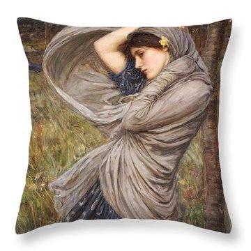 Boreas Throw Pillow by John William Waterhouse
