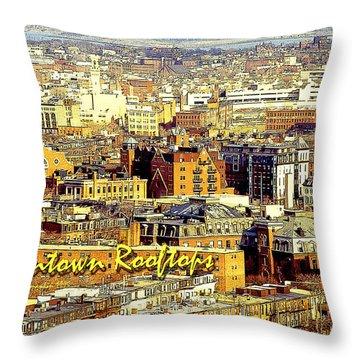 Throw Pillow featuring the digital art Boston Beantown Rooftops Digital Art by A Gurmankin