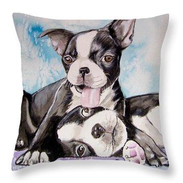Boston Buddies Throw Pillow by Carol Blackhurst