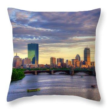 Boston Skyline Sunset Over Back Bay Throw Pillow by Joann Vitali