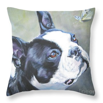 boston Terrier butterfly Throw Pillow by Lee Ann Shepard
