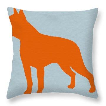 Boston Terrier Orange Throw Pillow by Naxart Studio