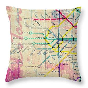 Boston Transit The T V3 Throw Pillow by Brandi Fitzgerald