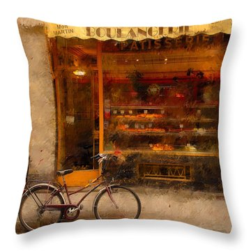 Boulangerie And Bike 2 Throw Pillow by Mick Burkey