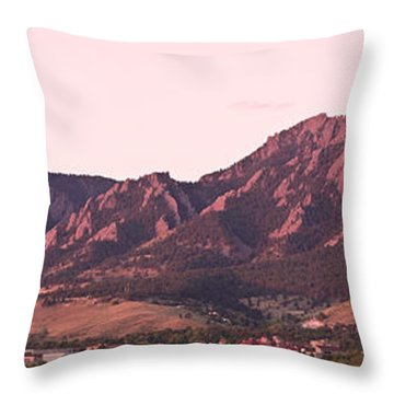 Boulder Colorado Flatirons 1st Light Panorama Throw Pillow by James BO  Insogna