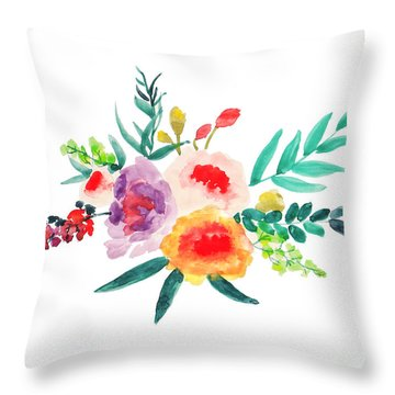 Bouquet Chic Throw Pillow by Rasirote Buakeeree